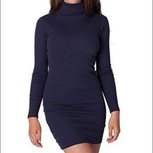 American Apparel Navy Blue Turtleneck Midi Dress